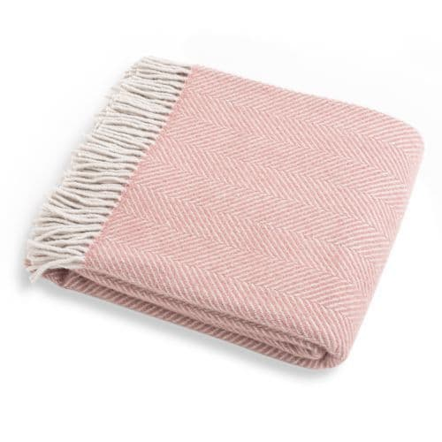 Pink Herringbone Wool Throw