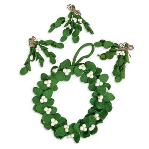 Set of Felt Mistletoe Decorations