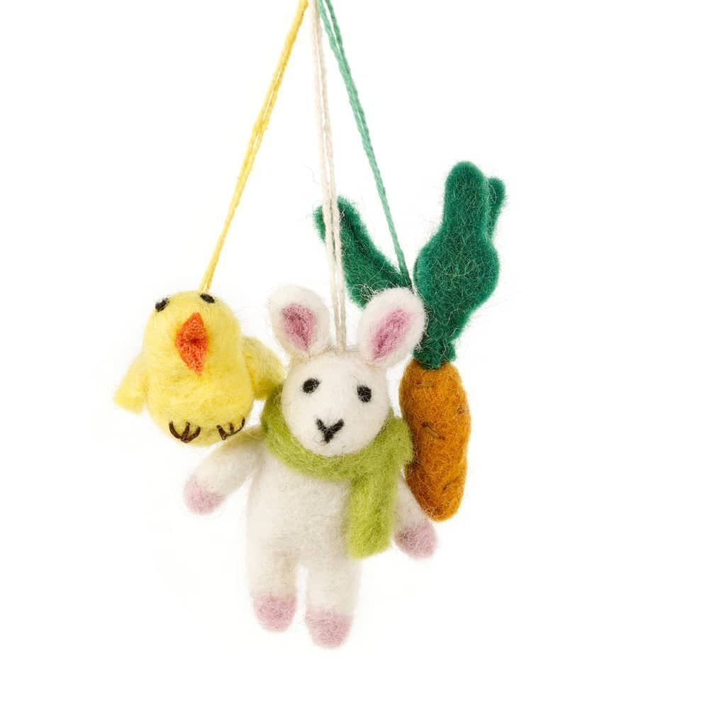 Set Of Felted Wool Easter Decorations