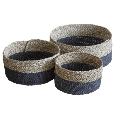 Set Of Woven Grey Baskets