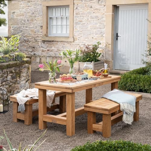 Stannington Solid Oak Table And Benches
