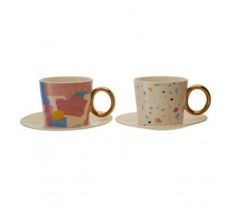 Terrazzo Cups & Saucers Set