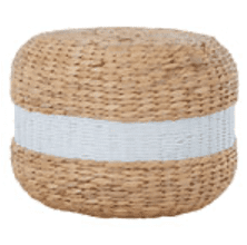 White & Natural Seagrass Pouffe | Home Accessories