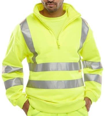 B Seen Hi Vis Zip Neck Sweatshirt