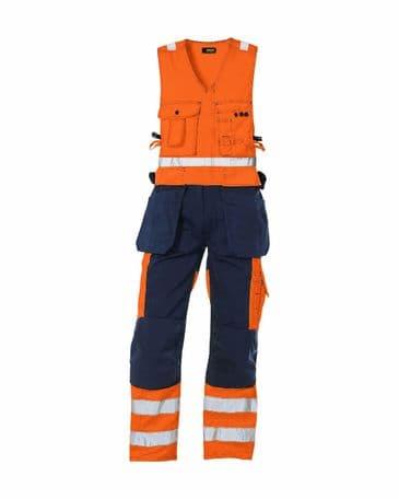 Blaklader 2653 High Vis, Sleeveless Overall (Orange/Navy Blue)