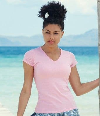 SS702 Fruit of the Loom Lady Fit Value V Neck T-Shirt
