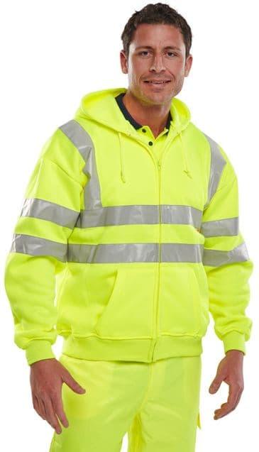 B Seen Hi Vis Full Zip Hooded Sweatshirt