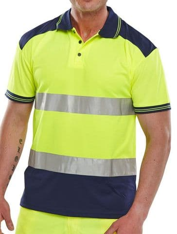 Be Seen Two Tone Polyknit Hi Vis Polo Shirt (CPKSTTEN)