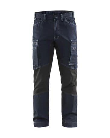 Blaklader 1459 Denim Stretch Service Trousers - 85% cotton / 15% polyamide (Navy/Black)