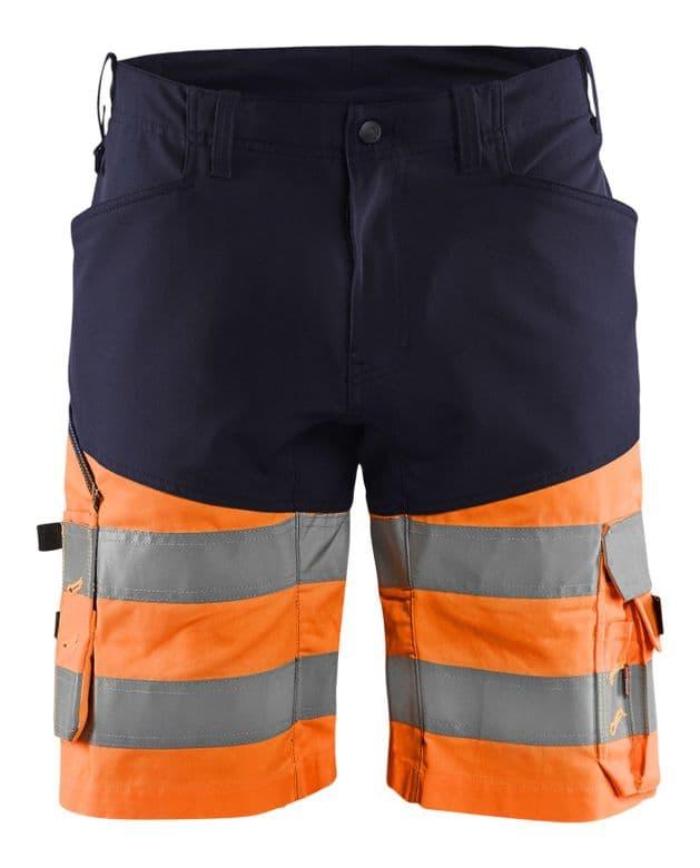 Blaklader 1541 Hi Vis Work Shorts with Stretch (Navy / Hi Vis Orange)