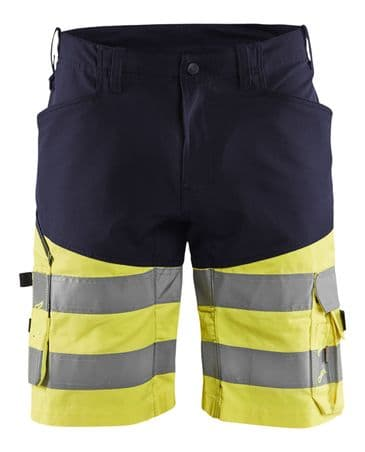 Blaklader 1541 Hi Vis Work Shorts with Stretch (Navy / Hi Vis Yellow)