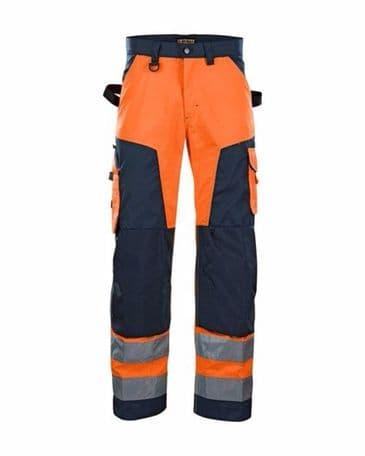 Blaklader 1566 High Vis Trouser Without Nail Pockets (Orange/Navy Blue)