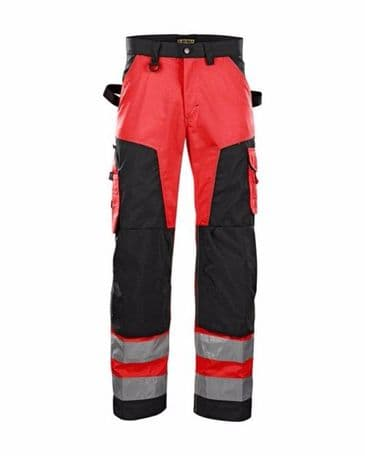 Blaklader 1566 High Vis Trouser Without Nail Pockets (Red/Black)