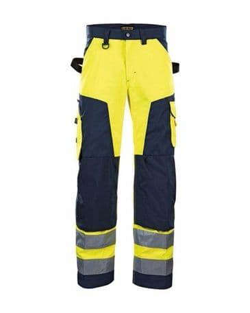 Blaklader 1566 High Vis Trouser Without Nail Pockets (Yellow/Navy Blue)