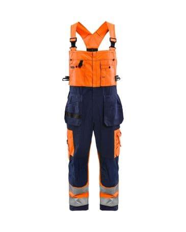 Blaklader 2603 Bib Overalls High Vis (Orange/Navy Blue)