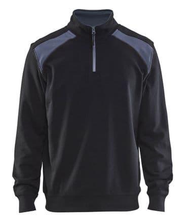 Blaklader 3353 Half Zip Two Tone Sweatshirt (Black/Grey)