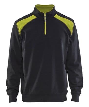Blaklader 3353 Half Zip Two Tone Sweatshirt (Black/Yellow)