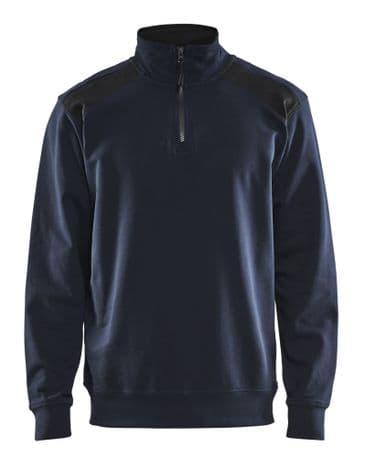 Blaklader 3353 Half Zip Two Tone Sweatshirt (Dark Navy/ Black)
