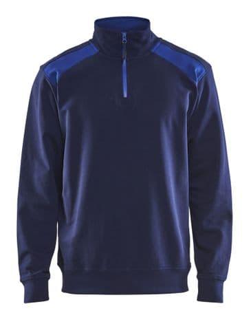 Blaklader 3353 Half Zip Two Tone Sweatshirt (Navy/Cornflower Blue)
