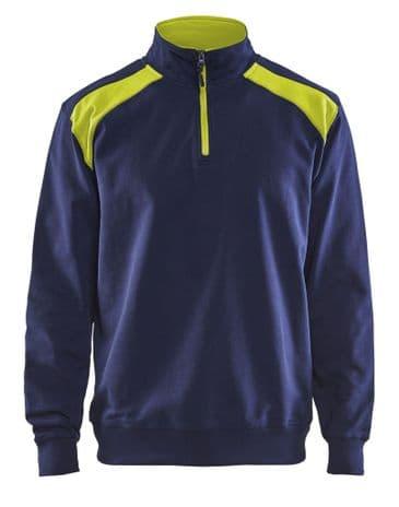 Blaklader 3353 Half Zip Two Tone Sweatshirt (Navy/Yellow)