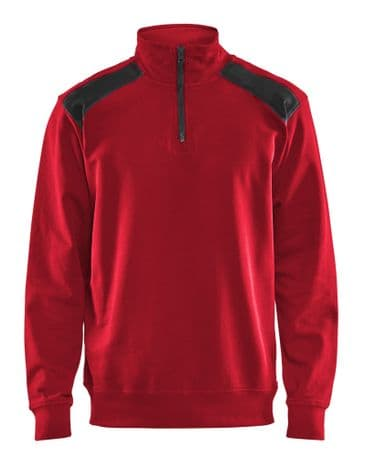 Blaklader 3353 Half Zip Two Tone Sweatshirt (Red/Black)
