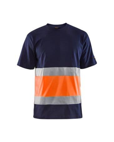 Blaklader 3387 High Vis T-Shirt Class 1 (Navy/High Vis Orange)