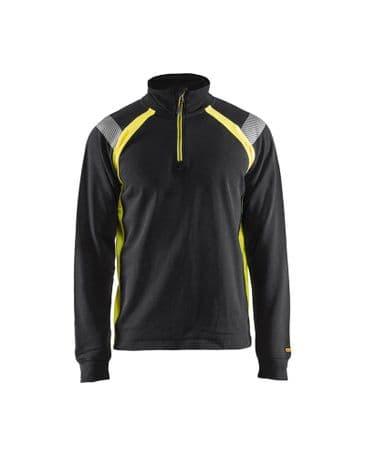 Blaklader 3432 Sweatshirt With Half Zip (Black/Yellow)