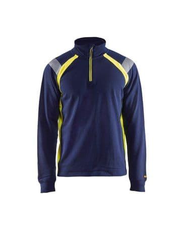 Blaklader 3432 Sweatshirt With Half Zip (Navy Blue/Yellow)