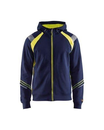 Blaklader 3433 Hoodie Full Zip (Navy Blue/Yellow)