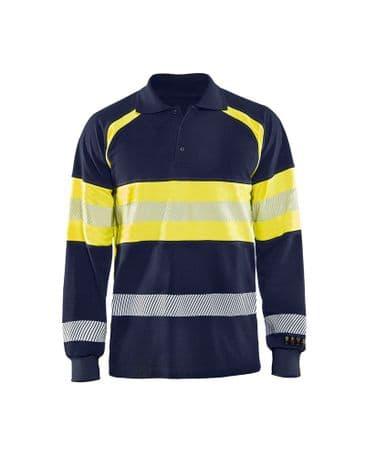 Blaklader 3438 Multinorm Pique Long Sleeves (Navy Blue/Yellow)