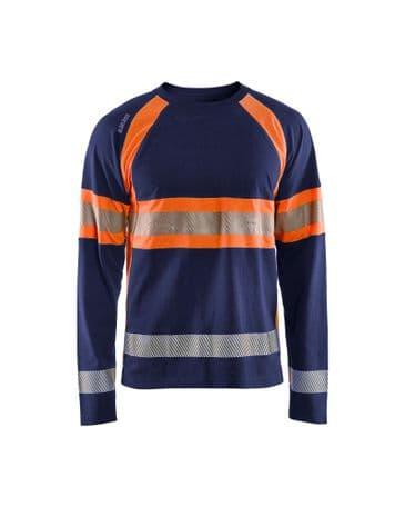 Blaklader 3510 Long-Sleeved T-Shirt High Vis (Navy/High Vis Orange)