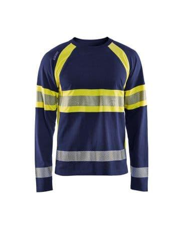 Blaklader 3510 Long-Sleeved T-Shirt High Vis (Navy/High Vis Yellow)