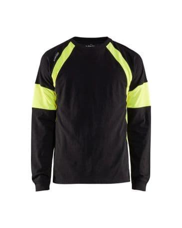 Blaklader 3520 Long-Sleeve T-Shirt (Black/High Vis Yellow)
