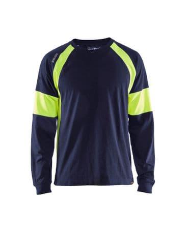 Blaklader 3520 Long-Sleeve T-Shirt (Navy/High Vis Yellow)