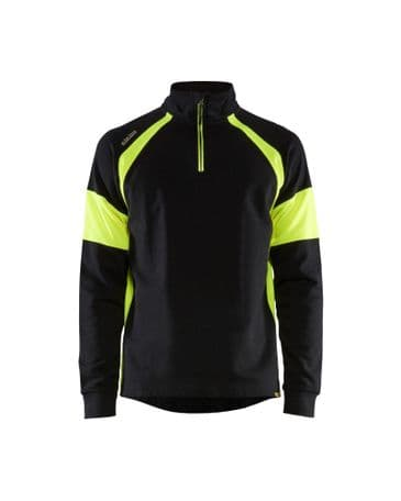 Blaklader 3550 Zip Neck Sweatshirt with Vis Panels (Black / Vis Yellow)