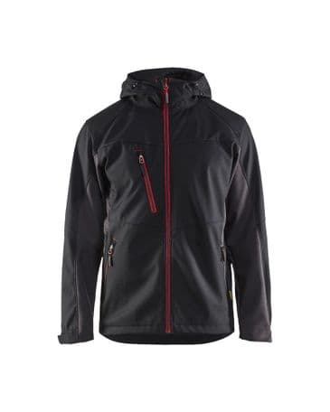 Blaklader 4753 Softshell Jacket With Hood  (Black/Red)