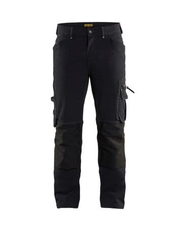 """CLEARANCE Blaklader 1989 Craftsman Trouser 4-Way Stretch Without Nail  Pockets (Black) C50 34""""W 32""""L"""