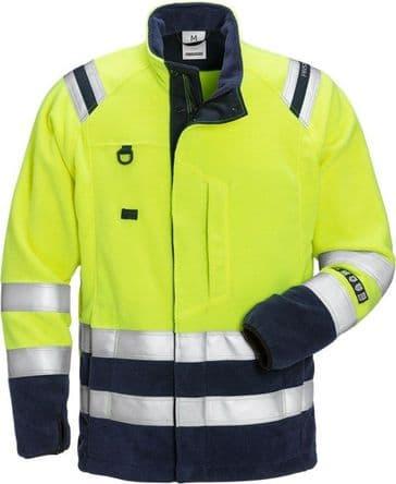 Fristads Flamestat High Vis Fleece Jacket CL 3 4063 ATF (Hi Vis Yellow/Navy)