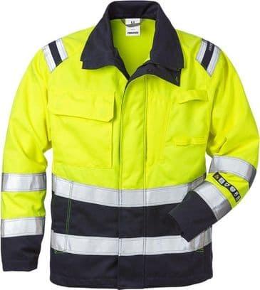 Fristads Flamestat High Vis Jacket CL 3 4175 ATHS (Hi Vis Yellow/Navy)