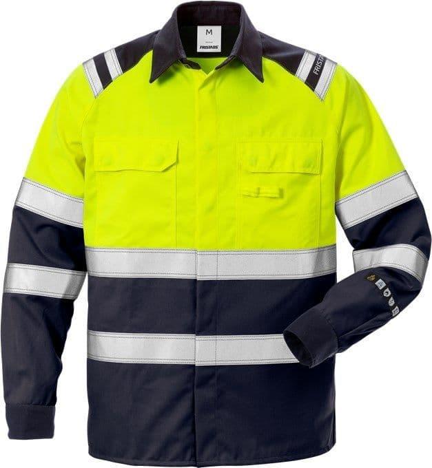 Fristads Flamestat High Vis Shirt CL 1 7051 ATS (Hi Vis Yellow/Navy)