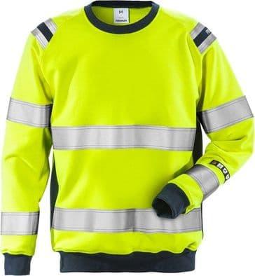 Fristads Flamestat High Vis Sweatshirt CL 3 7076 SFLH (Hi Vis Yellow/Navy)