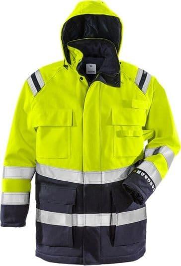 Fristads Flamestat High Vis Winter Parka CL 3 4086 ATHR (Hi Vis Yellow/Navy)