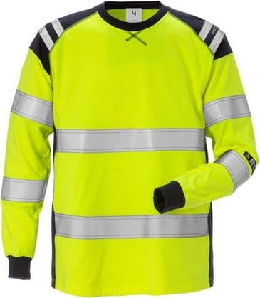 Fristads Flamestat Long Sleeve T-Shirt CL 3 7077 TFLH (Hi Vis Yellow/Navy)
