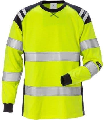 Fristads Flamestat Long Sleeve T-Shirt Woman Class 3 7097 TFLH (High Vis Yellow/Navy)