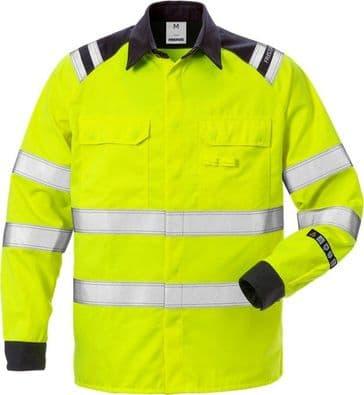 Fristads High Vis Shirt CL 3 7050 ATS (Hi Vis Yellow/Navy)