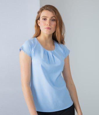 Henbury H597 Ladies Pleat Front Short Sleeve Smart Office Top
