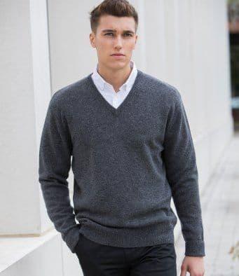 Henbury Lambswool V Neck Sweater (H730)