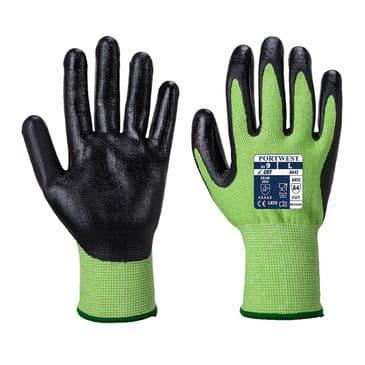 Portwest A645 Green Cut Resistant Gloves - Nitrile Foam (Green / Black)