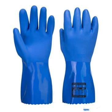 Portwest A881 Marine Ultra PVC Chemical Resistant Glove Gauntlet (Blue)