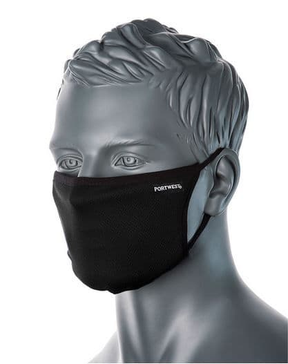 Portwest CV33 - 3-Ply Anti-Microbial Fabric Face Mask   Black   TuffShop.co.uk